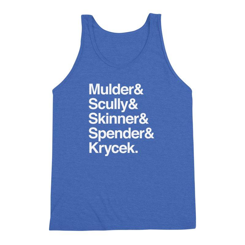 The X-Files in Helvetica - Mulder Scully Skinner Spender Krycek Men's Triblend Tank by Calobee Doodles