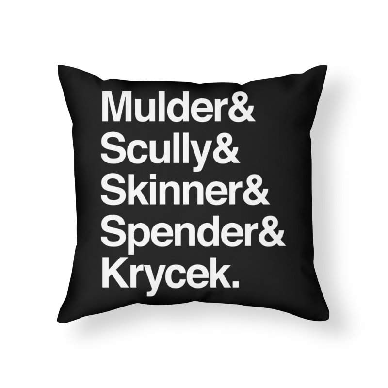 The X-Files in Helvetica - Mulder Scully Skinner Spender Krycek Home Throw Pillow by Calobee Doodles