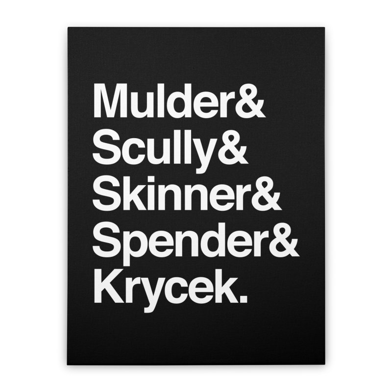 The X-Files in Helvetica - Mulder Scully Skinner Spender Krycek Home Stretched Canvas by Calobee Doodles