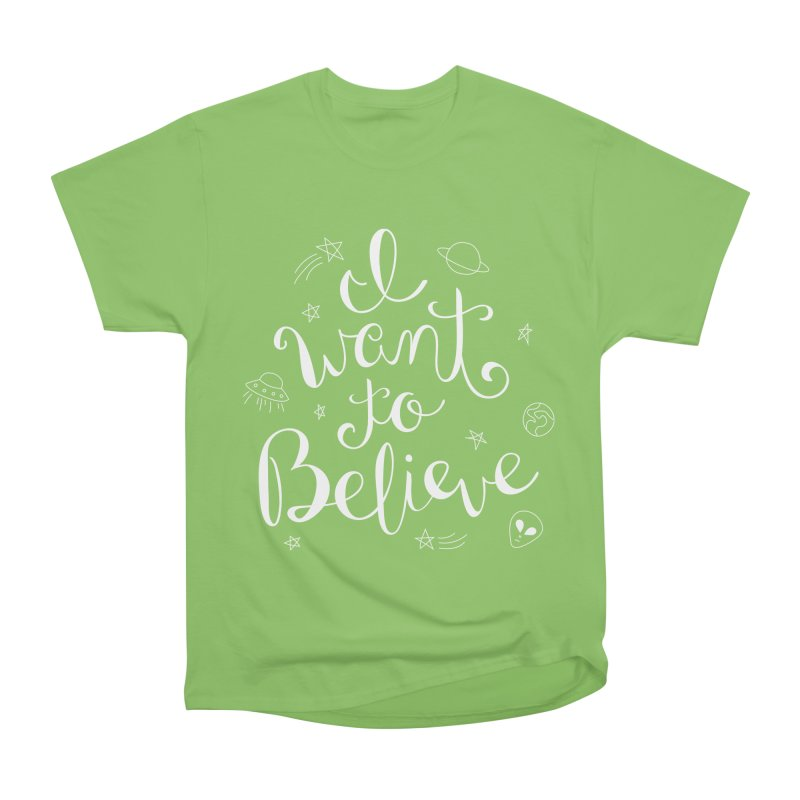 The X-Files - I want to believe Women's Heavyweight Unisex T-Shirt by Calobee Doodles