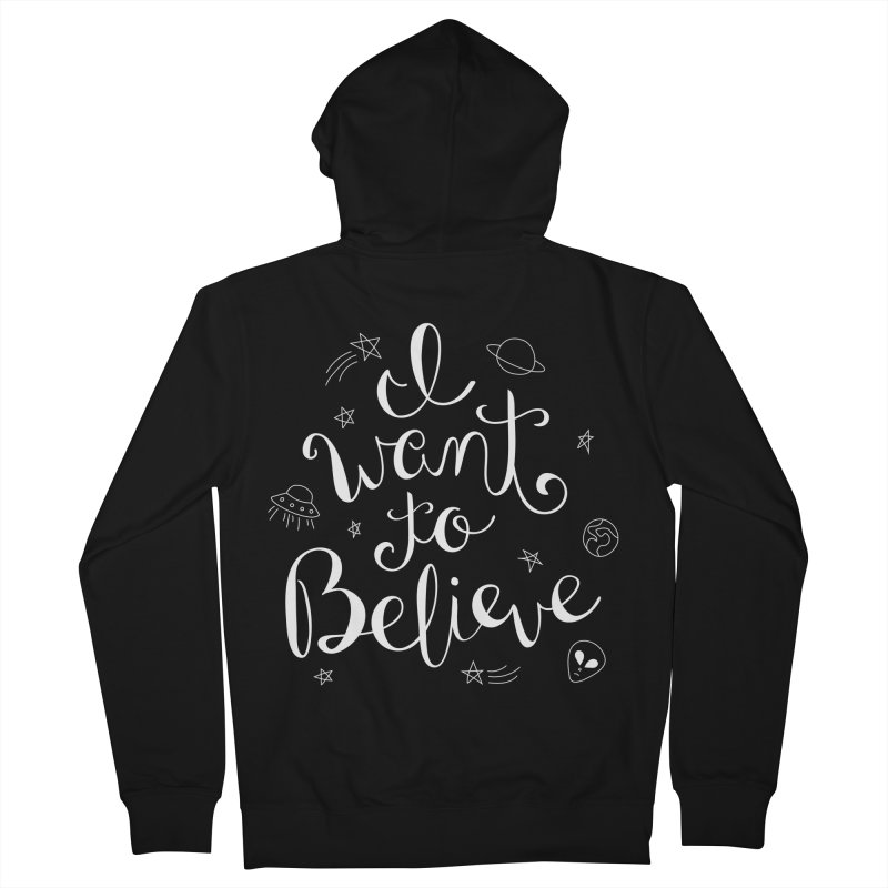 The X-Files - I want to believe Women's French Terry Zip-Up Hoody by Calobee Doodles