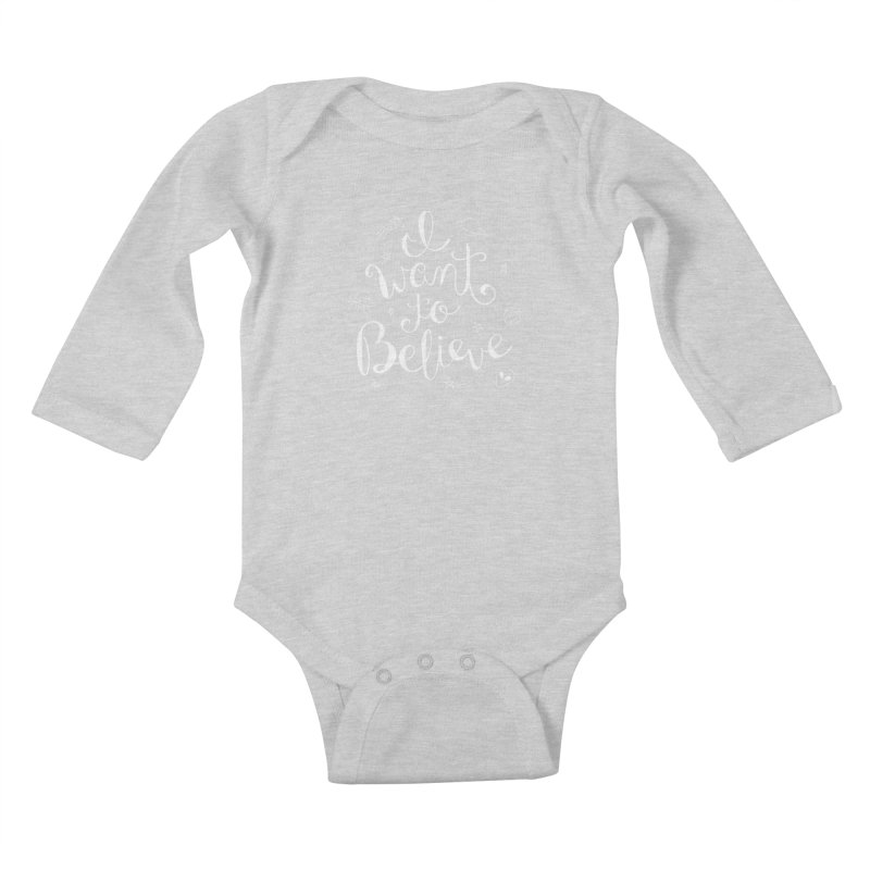 The X-Files - I want to believe Kids Baby Longsleeve Bodysuit by Calobee Doodles