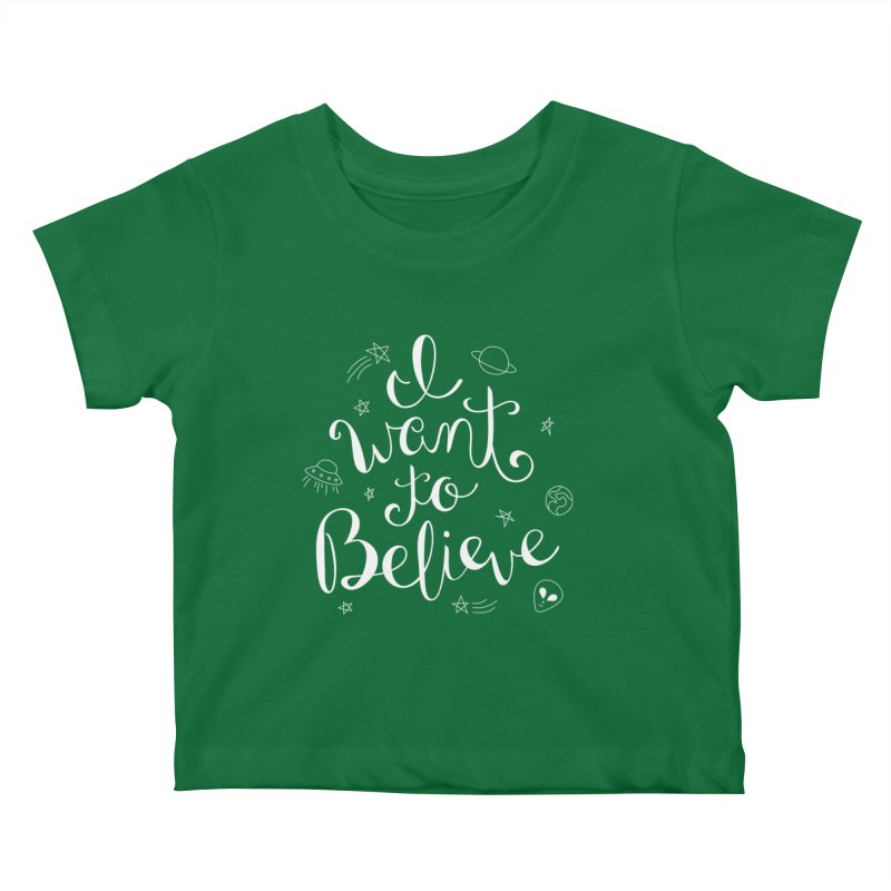 The X-Files - I want to believe Kids Baby T-Shirt by Calobee Doodles