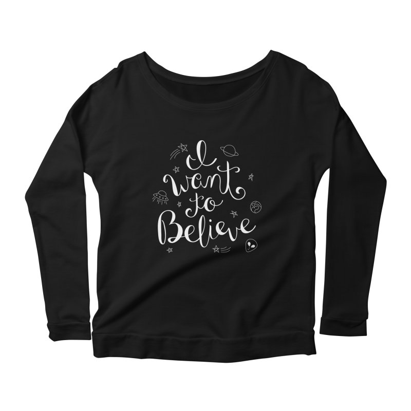 The X-Files - I want to believe Women's Scoop Neck Longsleeve T-Shirt by Calobee Doodles