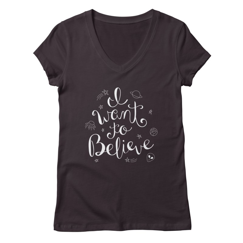 The X-Files - I want to believe Women's Regular V-Neck by Calobee Doodles
