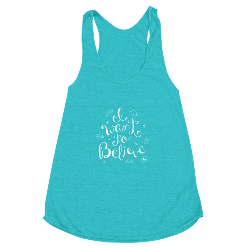 The X-Files - I want to believe Women's Racerback Triblend Tank by Calobee Doodles