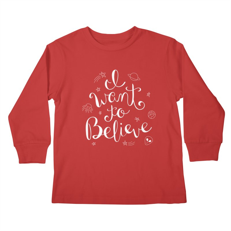 The X-Files - I want to believe Kids Longsleeve T-Shirt by Calobee Doodles