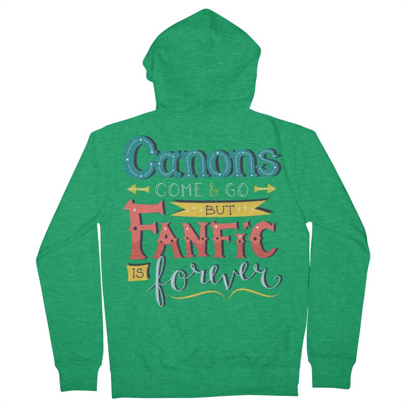 Fanfic is Forever Men's French Terry Zip-Up Hoody by Calobee Doodles