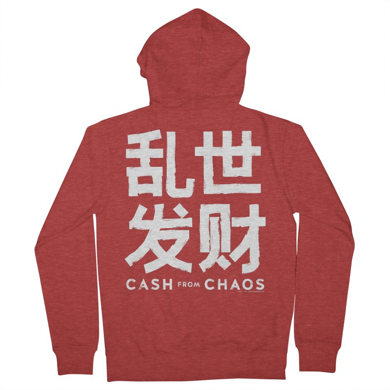 CASH FROM CHAOS - white print Women's Zip-Up Hoody by SIXTEN