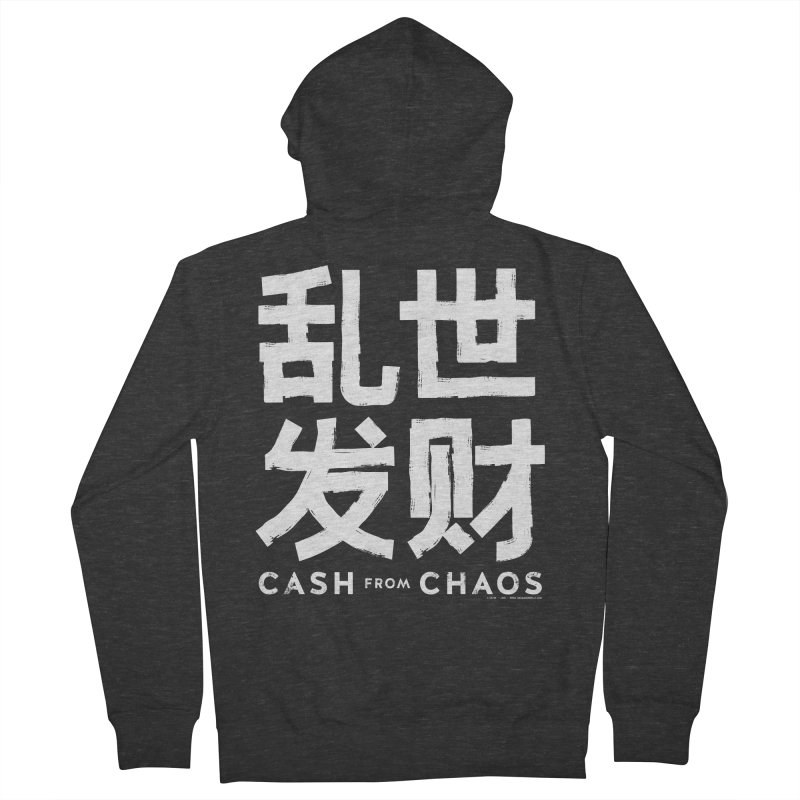 CASH FROM CHAOS - white print Men's Zip-Up Hoody by SIXTEN