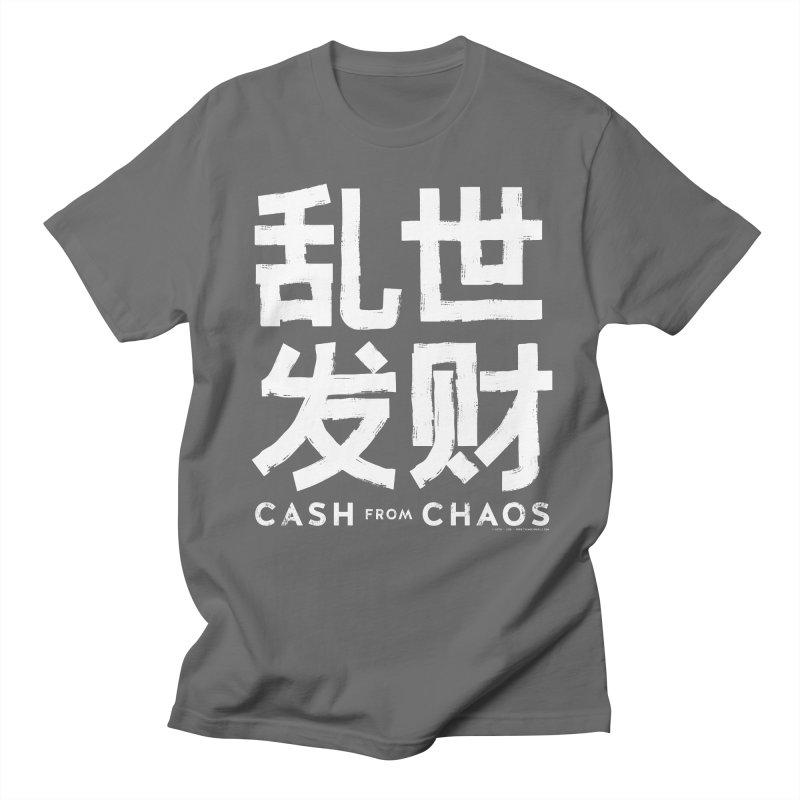 CASH FROM CHAOS - white print Men's T-shirt by SIXTEN