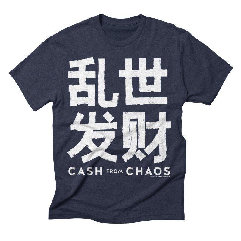 CASH FROM CHAOS - white print Men's Triblend T-shirt by SIXTEN