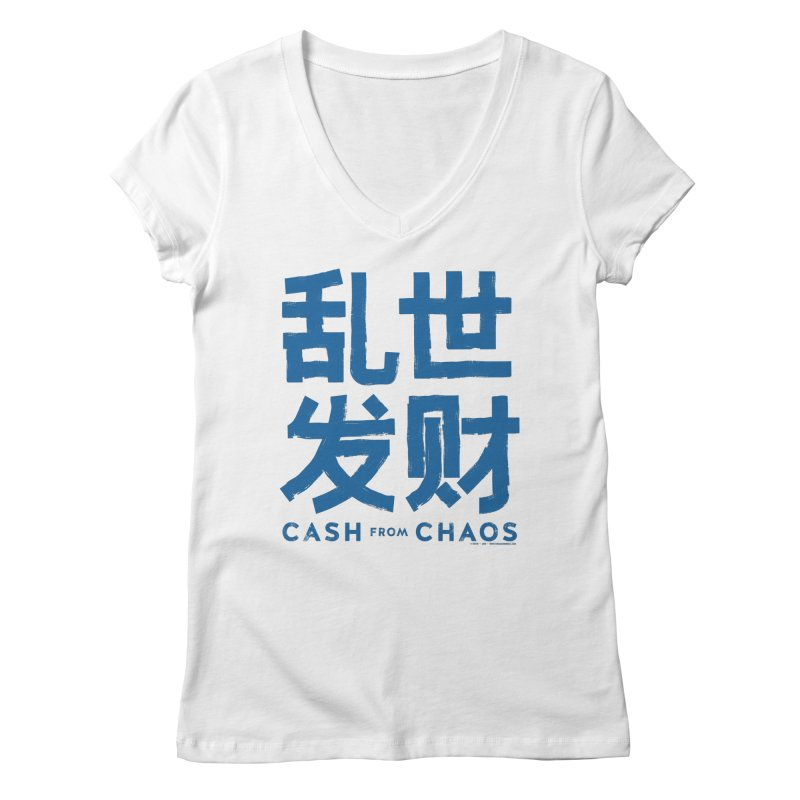 CASH FROM CHAOS - blue print Women's V-Neck by SIXTEN