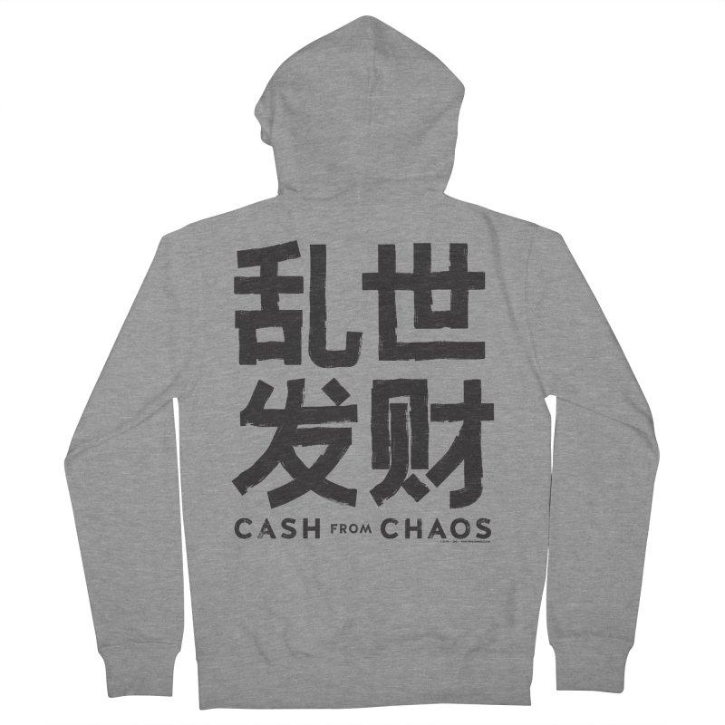 CASH FROM CHAOS - black print Men's Zip-Up Hoody by SIXTEN