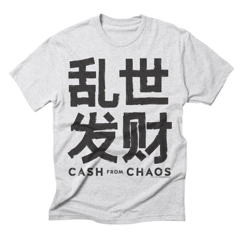 CASH FROM CHAOS - black print Men's Triblend T-shirt by SIXTEN
