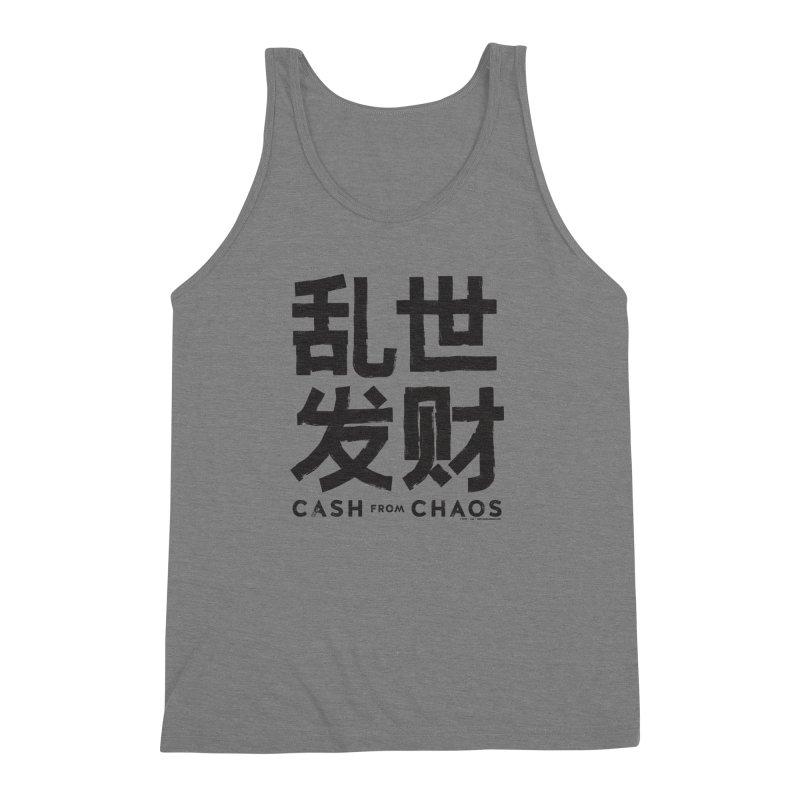 CASH FROM CHAOS - black print Men's Triblend Tank by SIXTEN