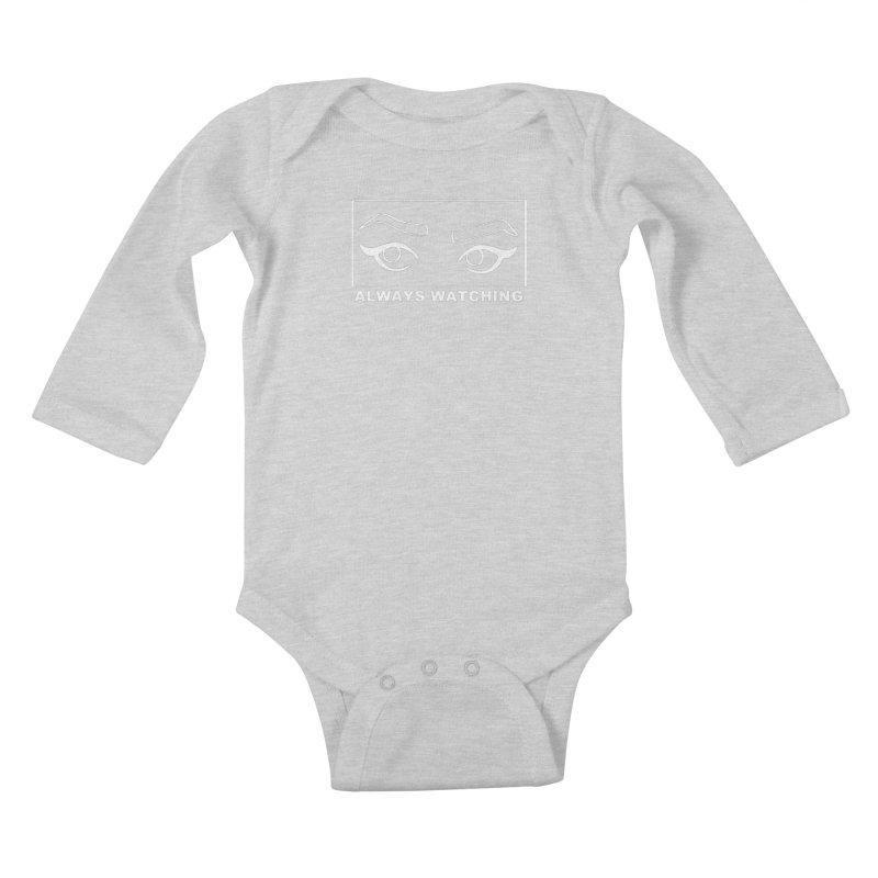 Always watching (on black) Kids Baby Longsleeve Bodysuit by Hello Siyi