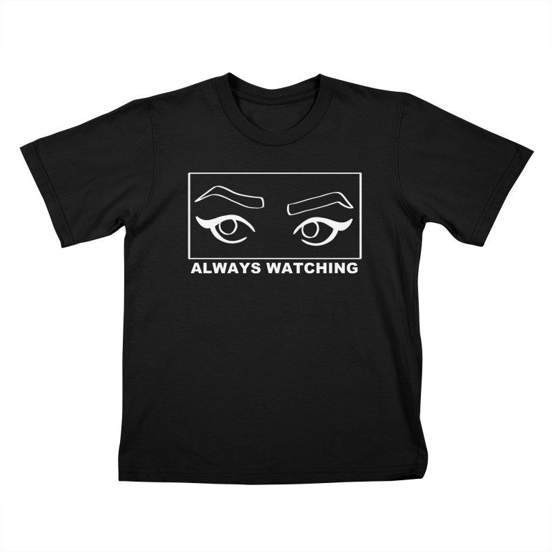 Always watching (on black) Kids T-Shirt by Hello Siyi