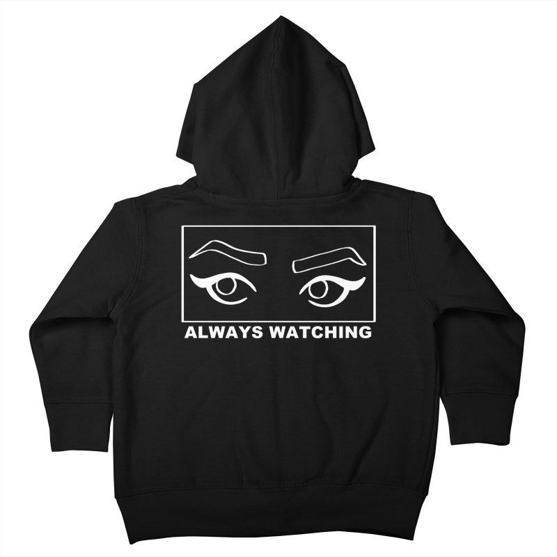 Always watching (on black) Kids Toddler Zip-Up Hoody by Hello Siyi