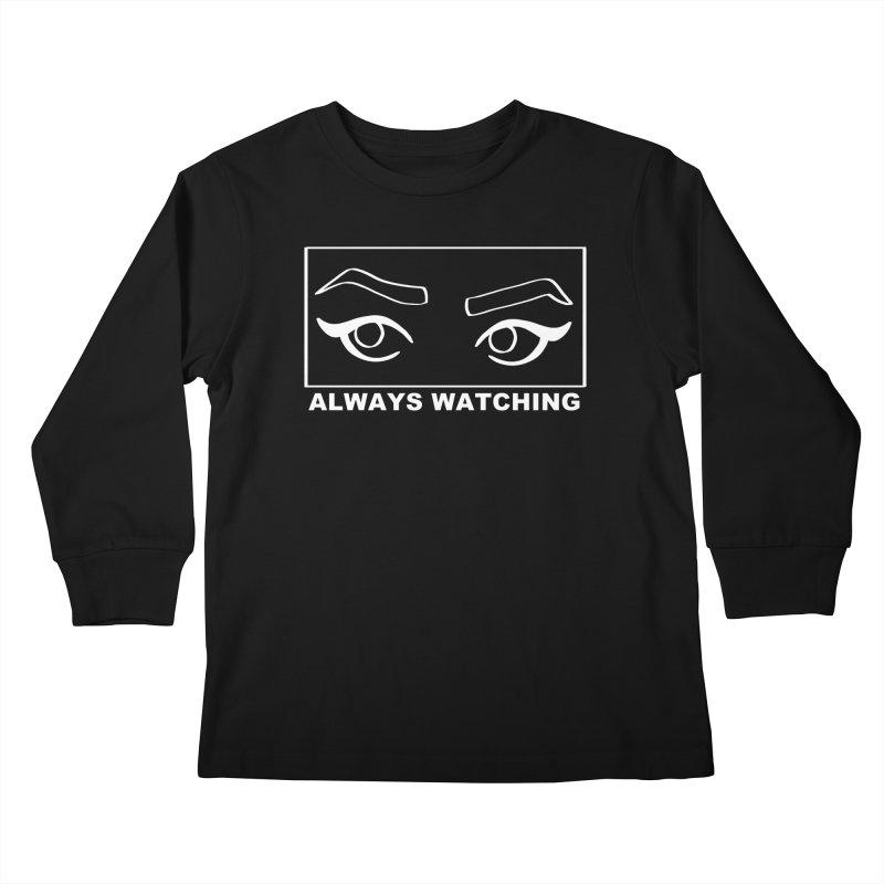 Always watching (on black) Kids Longsleeve T-Shirt by Hello Siyi