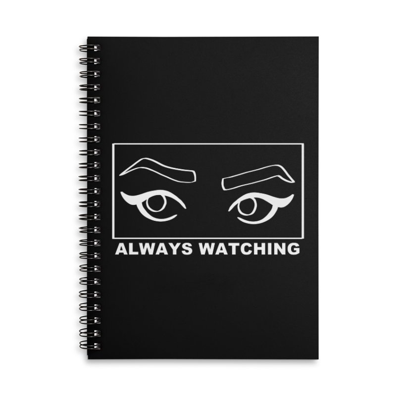 Always watching (on black) Accessories Lined Spiral Notebook by Hello Siyi