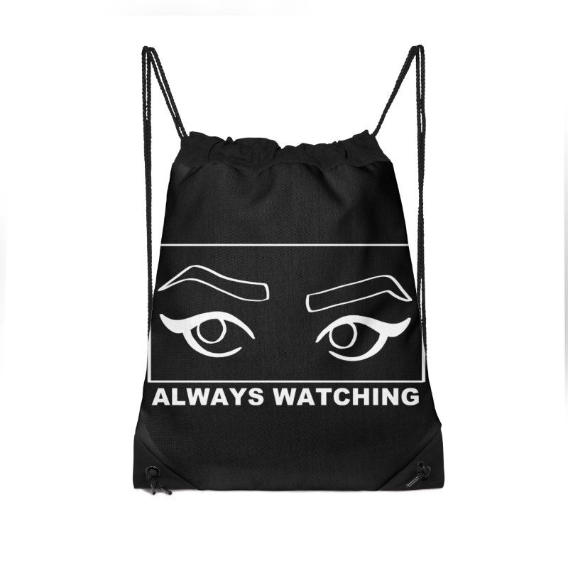 Always watching (on black) Accessories Drawstring Bag Bag by Hello Siyi