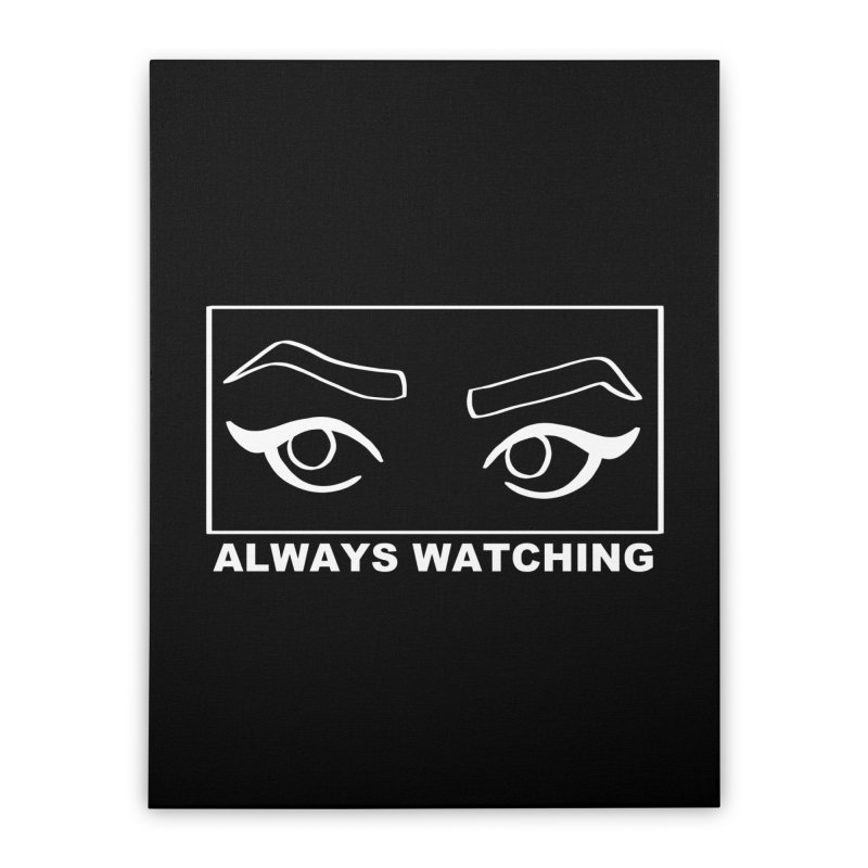Always watching (on black) Home Stretched Canvas by Hello Siyi