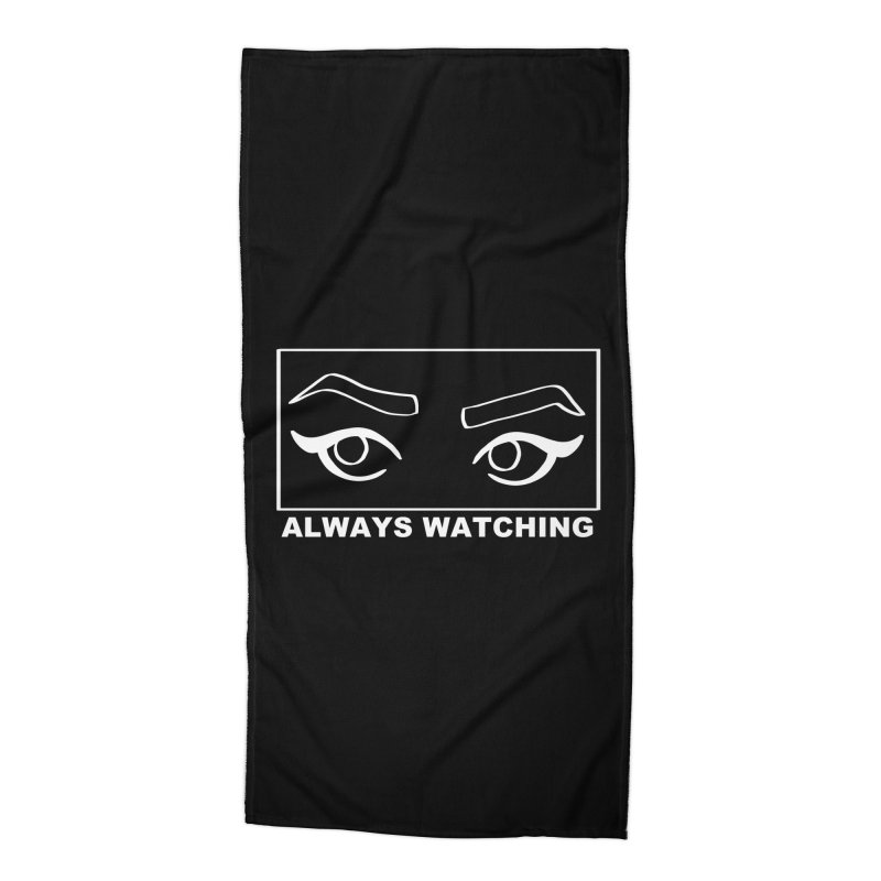 Always watching (on black) Accessories Beach Towel by Hello Siyi