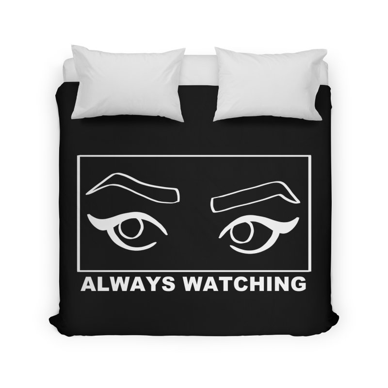 Always watching (on black) Home Duvet by Hello Siyi