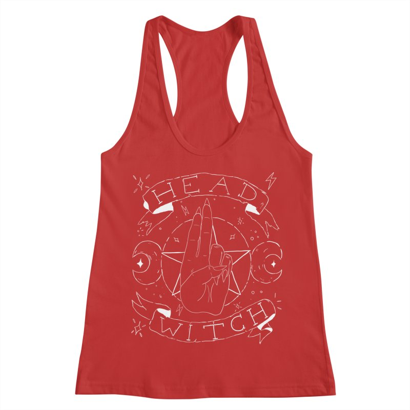 Head Witch (white) Women's Racerback Tank by Hello Siyi