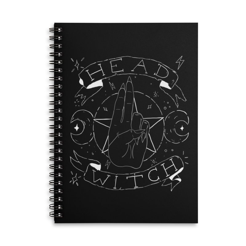 Head Witch (white) Accessories Lined Spiral Notebook by Hello Siyi