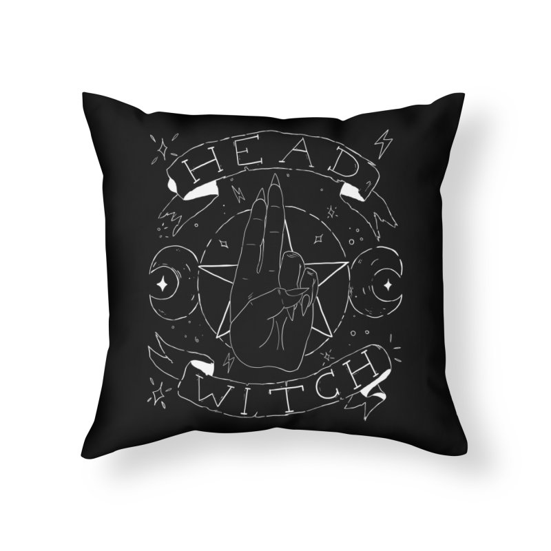 Head Witch (white) Home Throw Pillow by Hello Siyi