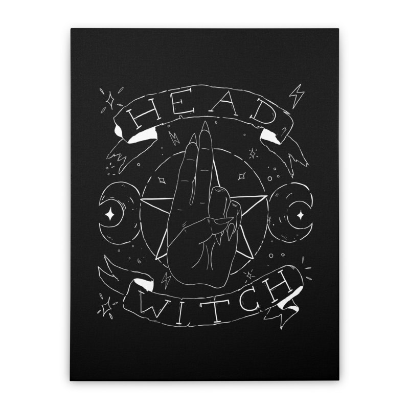 Head Witch (white) Home Stretched Canvas by Hello Siyi