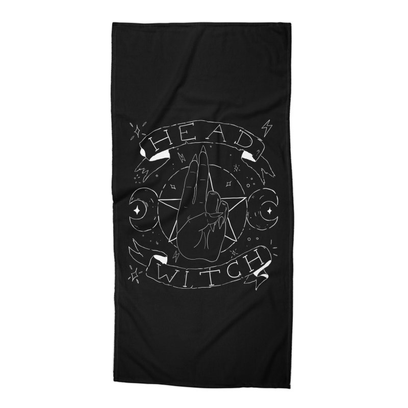 Head Witch (white) Accessories Beach Towel by Hello Siyi