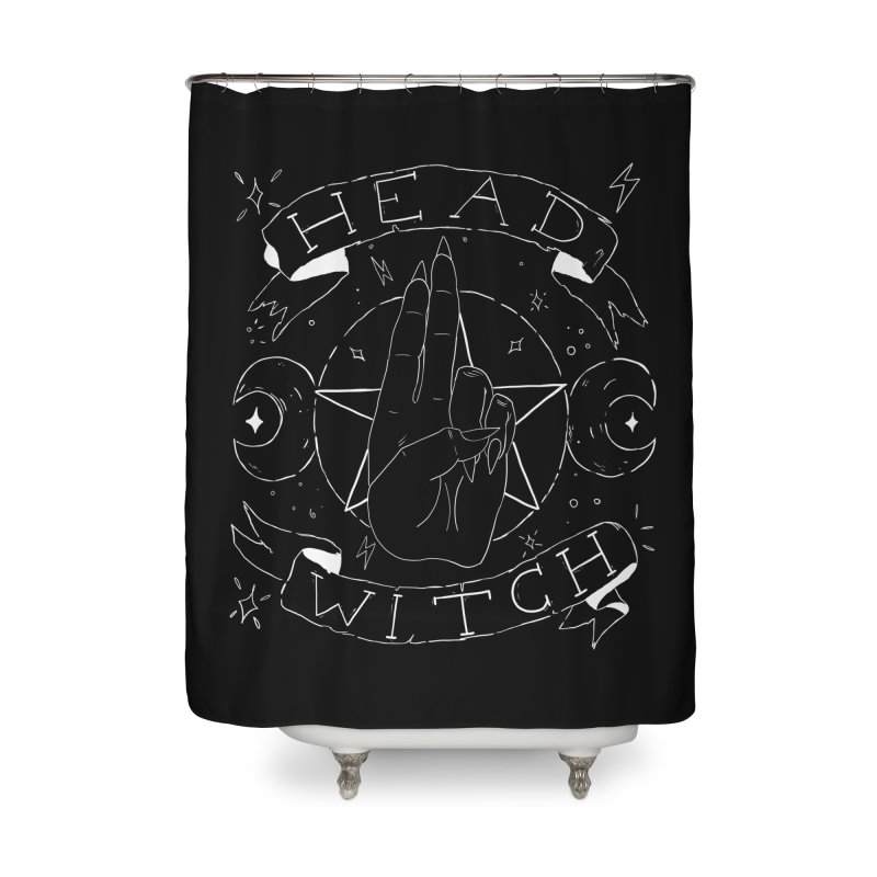 Head Witch (white) Home Shower Curtain by Hello Siyi