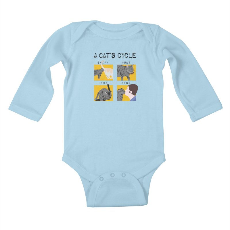 A cat's cycle Kids Baby Longsleeve Bodysuit by Hello Siyi