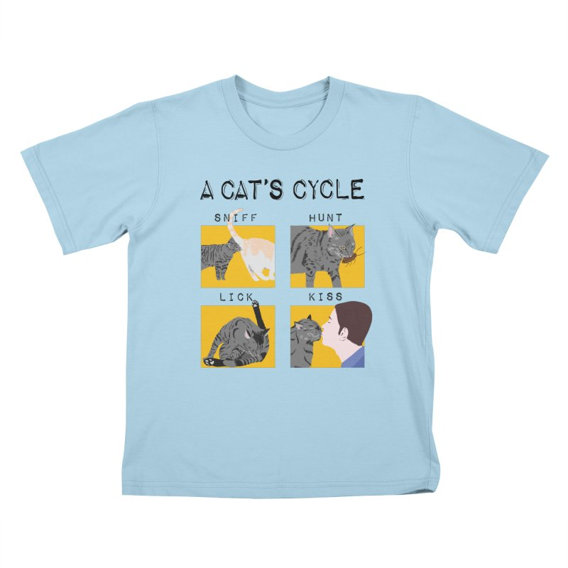 A cat's cycle Kids T-Shirt by Hello Siyi