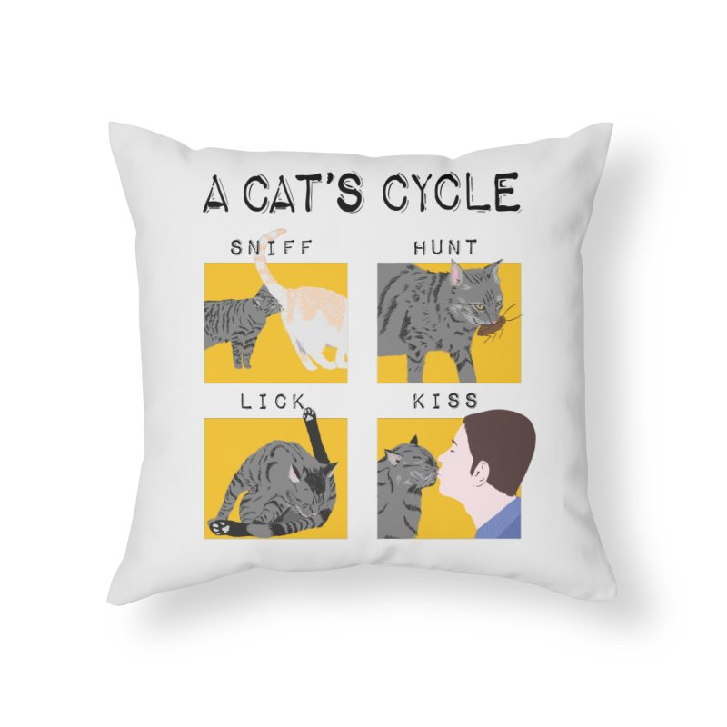 A cat's cycle Home Throw Pillow by Hello Siyi