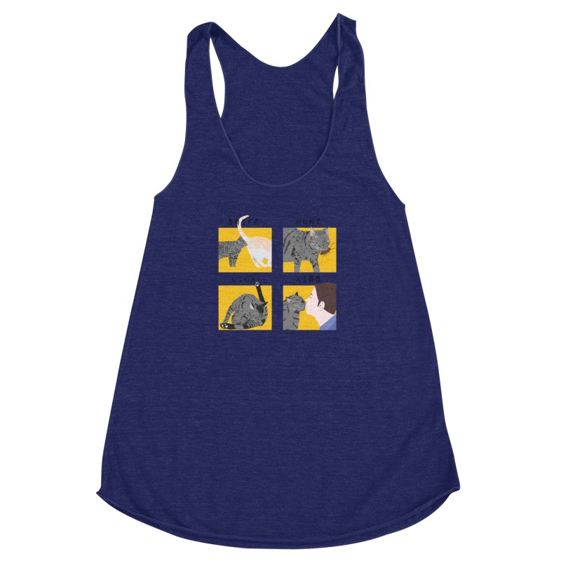 A cat's cycle (version 2) Women's Racerback Triblend Tank by Hello Siyi