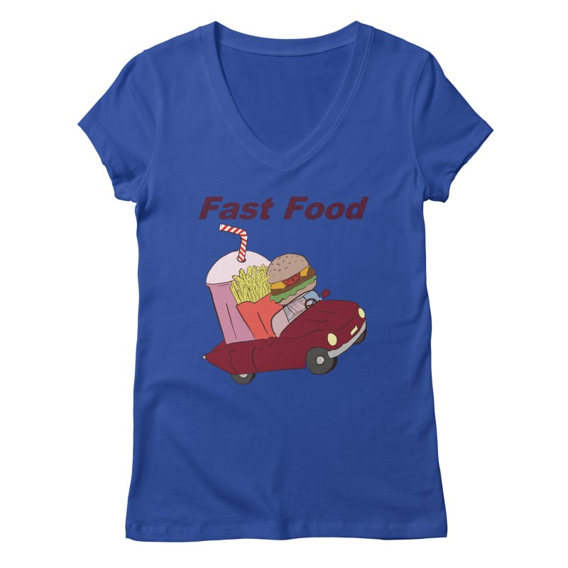 Fast Food Women's Regular V-Neck by Hello Siyi