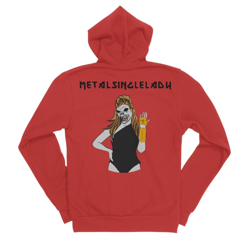 Metal Single Lady Men's Sponge Fleece Zip-Up Hoody by Hello Siyi