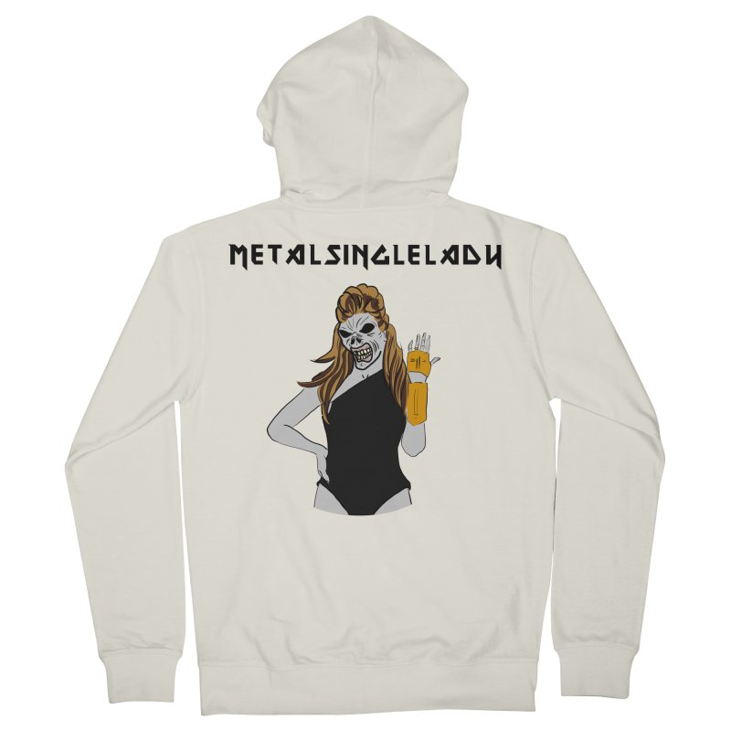 Metal Single Lady Women's French Terry Zip-Up Hoody by Hello Siyi