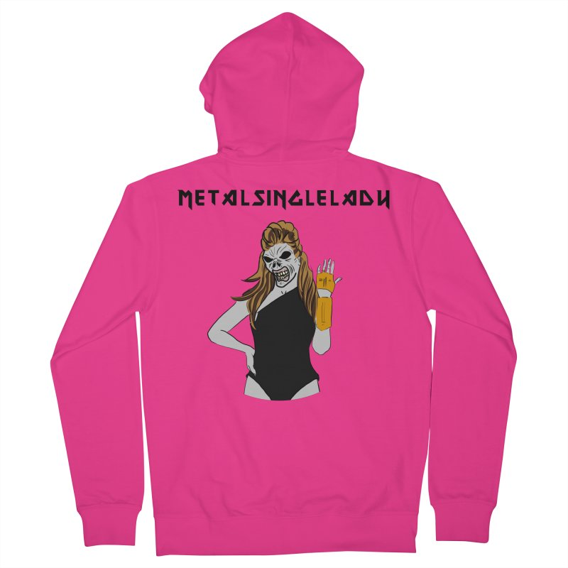 Metal Single Lady Men's French Terry Zip-Up Hoody by Hello Siyi