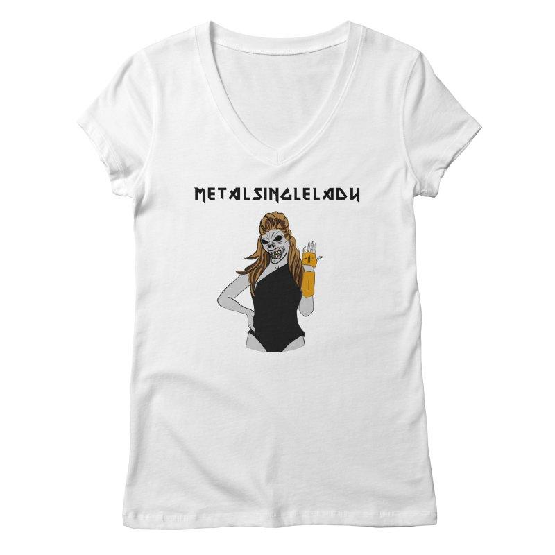 Metal Single Lady Women's Regular V-Neck by Hello Siyi
