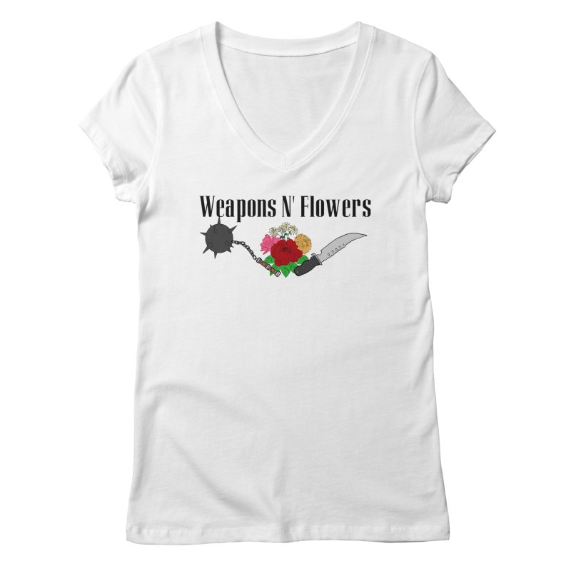 Weapons N' Flowers Women's Regular V-Neck by Hello Siyi