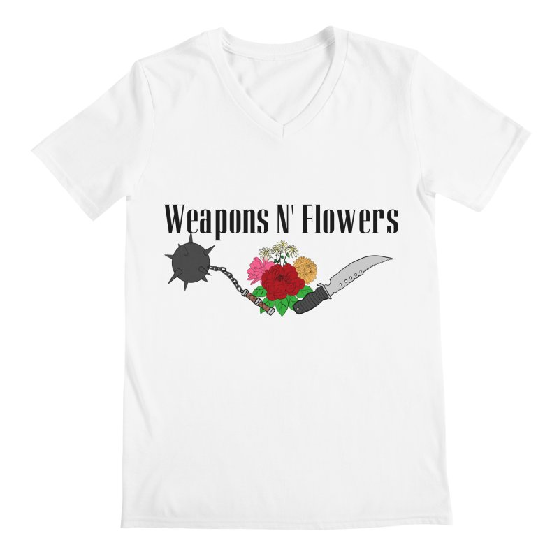 Weapons N' Flowers Men's Regular V-Neck by Hello Siyi