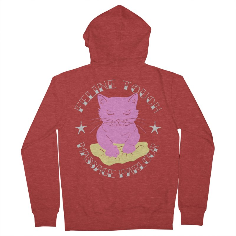 Feline Touch Massage Parlour Men's French Terry Zip-Up Hoody by Hello Siyi