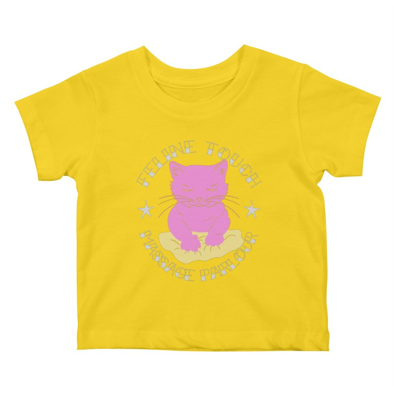 Feline Touch Massage Parlour Kids Baby T-Shirt by Hello Siyi