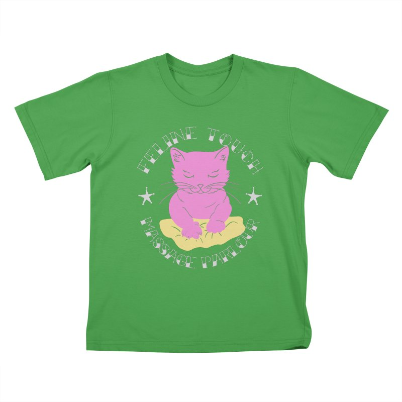 Feline Touch Massage Parlour Kids T-Shirt by Hello Siyi
