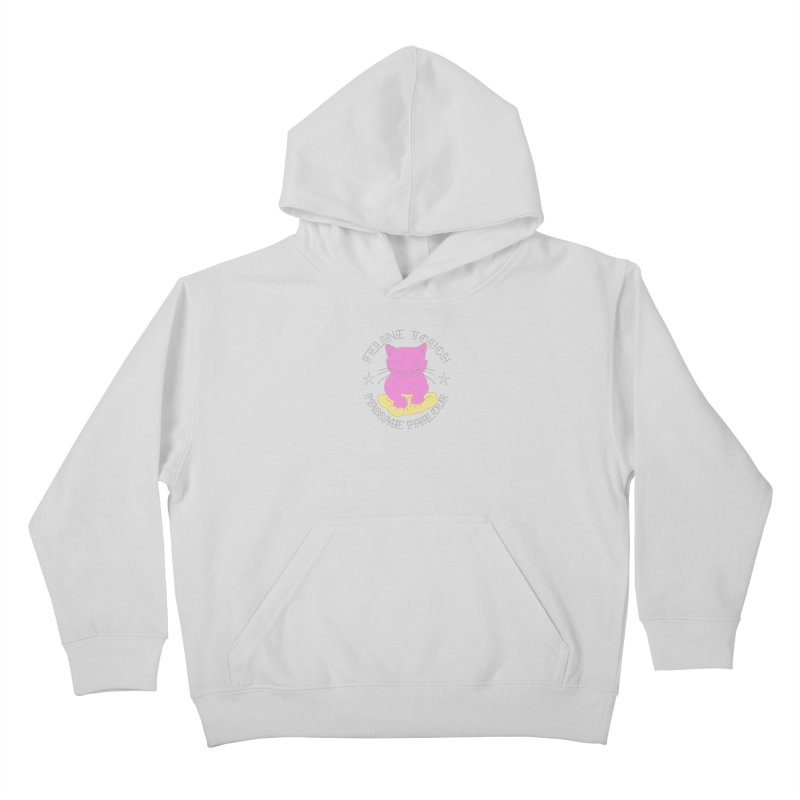 Feline Touch Massage Parlour Kids Pullover Hoody by Hello Siyi
